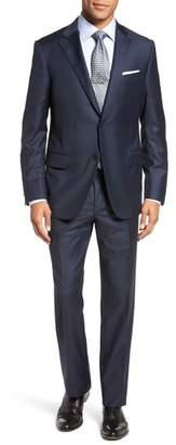 Hickey Freeman Modern H Fit Solid Loro Piana Wool Suit