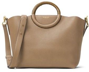 Michael Kors Skorpios Leather Market Bag - Beige