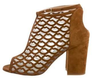 PeepToe Giannico Peep-Toe Ankle Boots w/ Tags