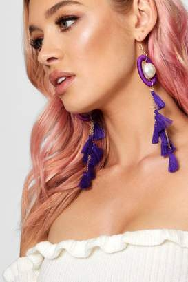 boohoo Helena Statement Circle & Tassel Pearl Earrings