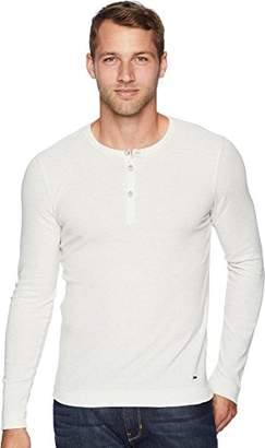 HUGO BOSS BOSS Orange Men's Trix Henley Waffle Long Sleeve Tee