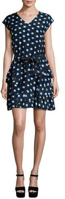 Boutique Moschino Cap-Sleeve Ruffled Polka-Dot Shirtdress, Blue/White $550 thestylecure.com