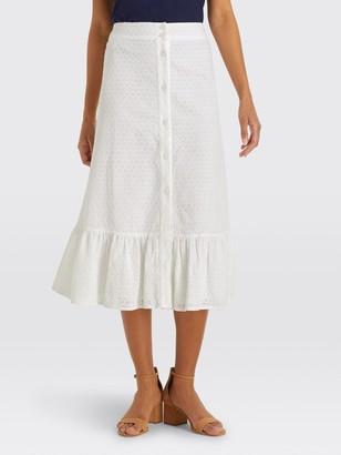 Draper James Eyelet Button Front Skirt