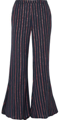 Mes Demoiselles Emmanuel Lyrical Metallic Striped Cotton-blend Flared Pants - Midnight blue