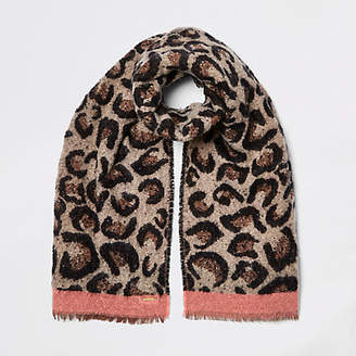 River Island Brown leopard print scarf