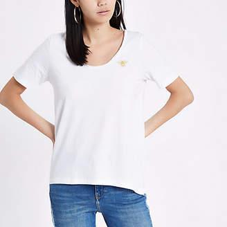 River Island Womens White round scoop neck T-shirt