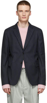 Acne Studios Navy and Green Pinstripe Antibes Blazer