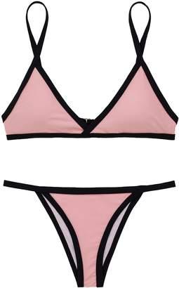 X-HERR Womens Padded Top Push up Bralette Bikini Swimwear Brazilian Cheeky Bottom Two Piece Swimsuit(Pink,S(US 0)