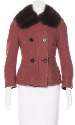 Narciso Rodriguez Fur-Trimmed Virgin Wool Jacket