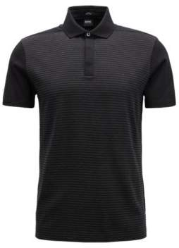 BOSS Hugo Slim-fit polo shirt in mercerized-cotton jacquard XXL Black