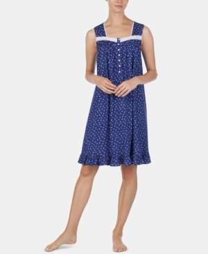 Eileen West Eyelet-Trim Cotton Knit Nightgown