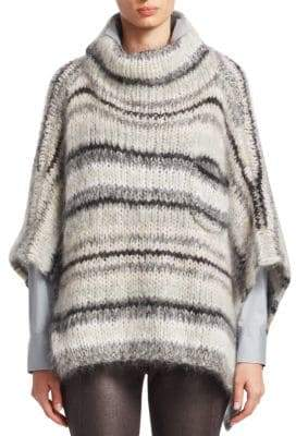 Brunello Cucinelli Mohair& Wool Striped Poncho