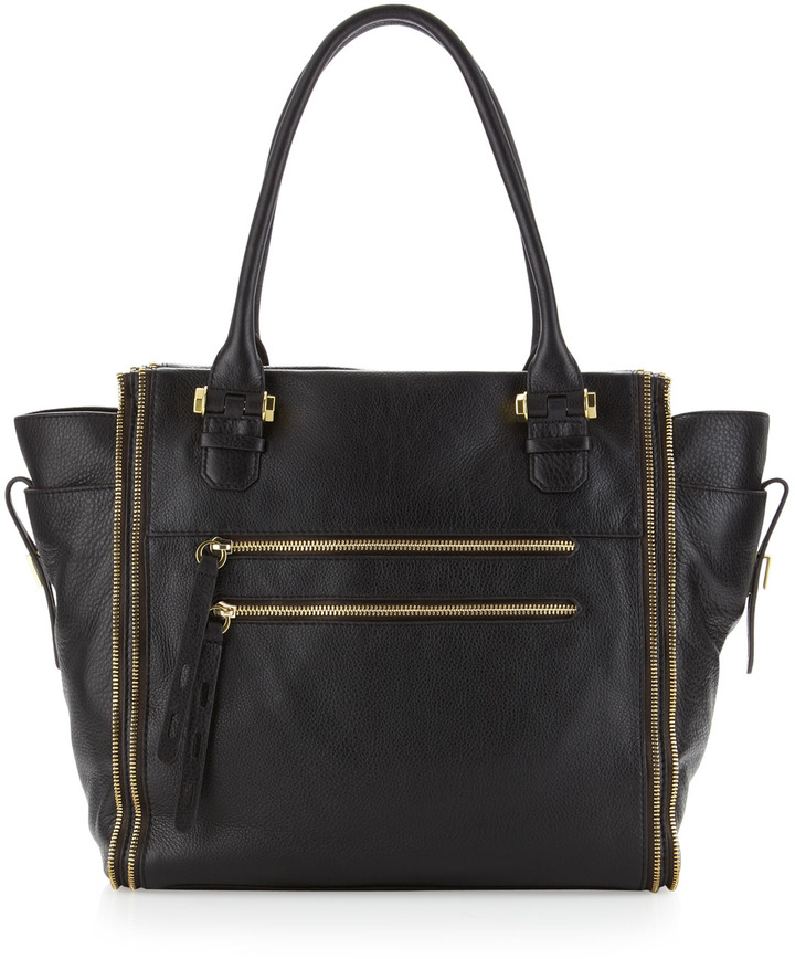 Oryany Tara Zipper-Detail Tote, Black