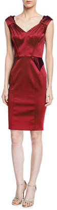 Zac Posen V-Neck Satin Sheath Dress