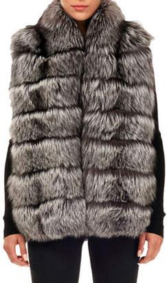 Gorski Horizontal Fox Fur Vest w/ Hood