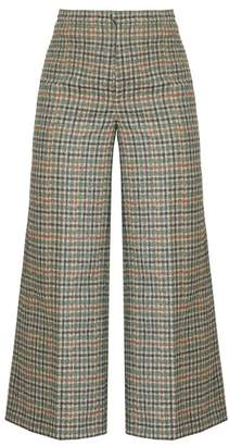 Isabel Marant Trevi High Rise Wide Leg Cropped Trousers - Womens - Green Multi