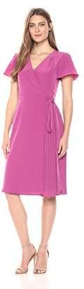 Lark & Ro Women's Flutter Sleeve Wrap Dress