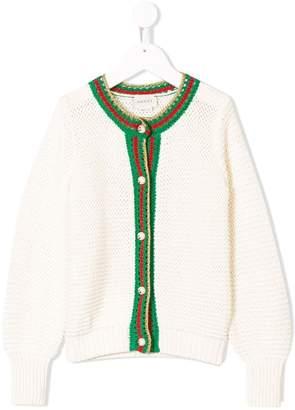 Gucci Kids Web trim knitted cardigan
