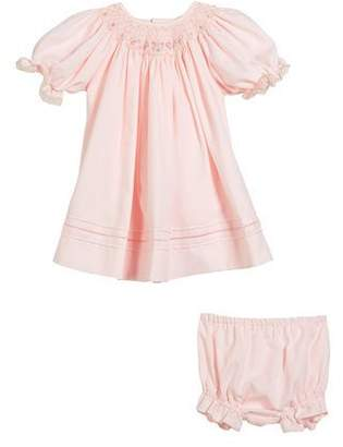 Luli & Me Button-Down Lace Trim Bishop Dress w/ Diaper Cover, Size Newborn-9M