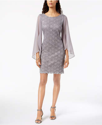 Connected Illusion Angel-Sleeve Lace Sheath Dress