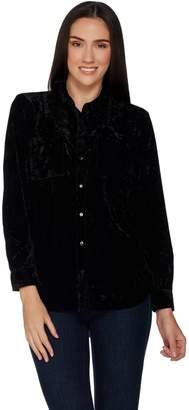 Denim & Co. Crushed Velvet Long Sleeve Button Front Collared Shirt