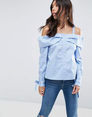 Asos Design Cold Shoulder Top With Button Front And Tie Cuff