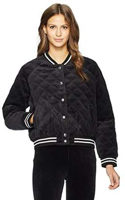 Juicy Couture Black Label Women's Velour Quilted Bomber Jacket