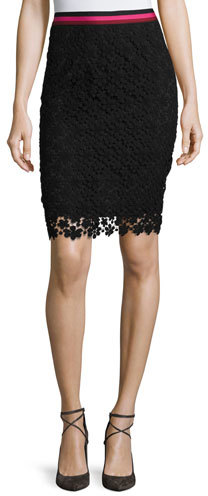 Trina Turk Floral Lace Pencil Skirt, Black