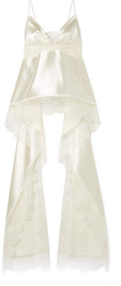 Danielle Frankel - Chantilly Lace-trimmed Silk And Wool-blend Satin Camisole - Cream
