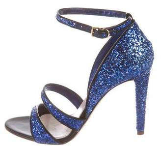 Miu Miu Glitter Ankle-Strap Sandals