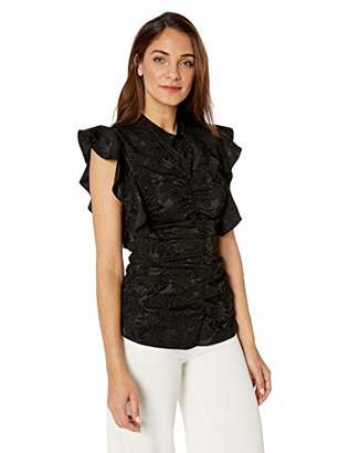BCBGMAXAZRIA Women's Abstract Leaf Shirred Top