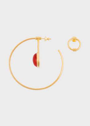 Paul Smith Rachel Entwistle + Gold 'Pendulum Hoop' Earrings With Red Coral Stone