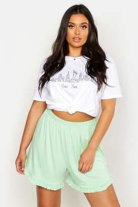 boohoo Plus Ruffle Hem Flippy Shorts