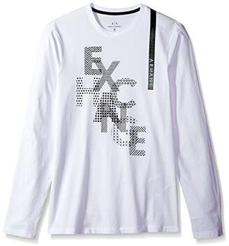 Armani Exchange A|X Men's LS Metallic Print Logo T-Shirt