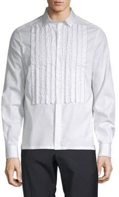 Valentino Pleated Cotton Button-Down Shirt