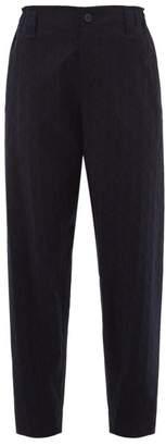 Issey Miyake Blink Geometric Print Pleated Trousers - Womens - Navy