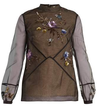 Erdem Bernice Embellished Silk Organza Blouse - Womens - Black Multi