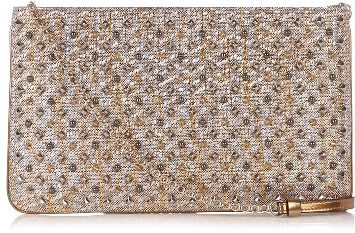 Christian Louboutin CHRISTIAN LOUBOUTIN Loubiposh spike-embellished raffia clutch