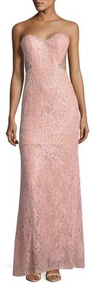 La Femme Women's Strapless Embroidered Column Gown