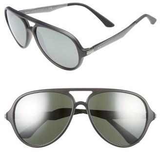 Men's Ray-Ban Pilot 57Mm Sunglasses - Matte Grey / Silver Mirror $175 thestylecure.com