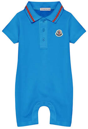 Moncler Polo Romper w/ Striped Taping, Size 3-24 Months