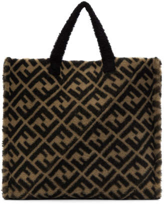 Fendi Beige and Brown Shearling Forever Tote