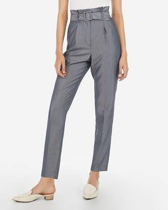 Express Super High Waisted Chambray Belted Ankle Pant