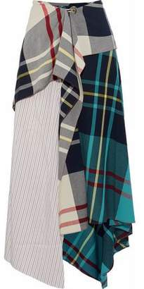 J.W.Anderson Striped Silk-Paneled Checked Woven Midi Skirt