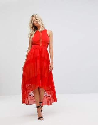 Adelyn Rae Irina Pleated Lace Insert Maxi Dress