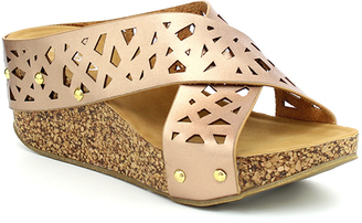 Rose Gold Crisscross Elva Wedge Sandal $45 thestylecure.com