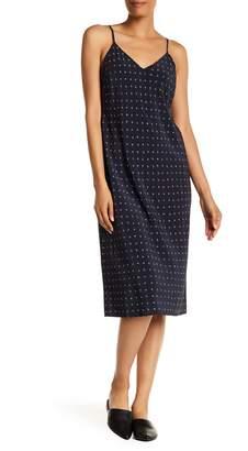 Vince V-Neck Print Silk Dress