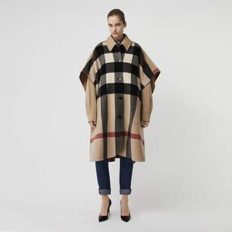 Burberry Reversible Check Wool Blend Poncho, Brown