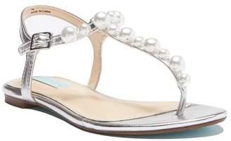 Betsey Johnson Bryce Pearl Embellished T-Strap Sandal