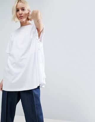 ASOS White ASOS WHITE Asymmetric Sleeve T-Shirt With Ruche Underarm Detail $46 thestylecure.com